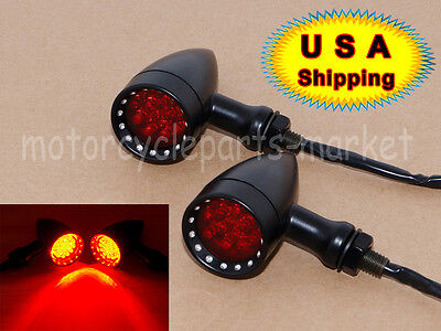 USA Red LED Black Bullet Stop Brake Running Turn Signal Tail Light Motorcycle