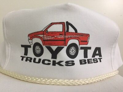 NOS 90s Vintage Toyota Trucks Best Rope Hat Jacked Up Red Truck Big Tires