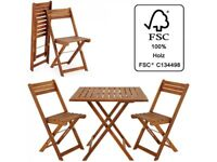 **FREE & FAST UK DELIVERY** Classic Acacia Wood 3-Piece Balcony Patio Folding Table Set