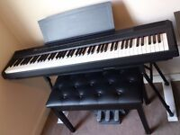 Yamaha P105 Portable Digital Full 88-key Piano with 3 pedals, stand, stool, music rest and covers