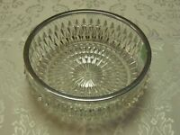 Antique Cut Glass Salad Bowl with Silver Plated Rim