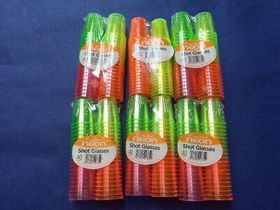 6 Packs Of 40 Neon Shot Glasses.