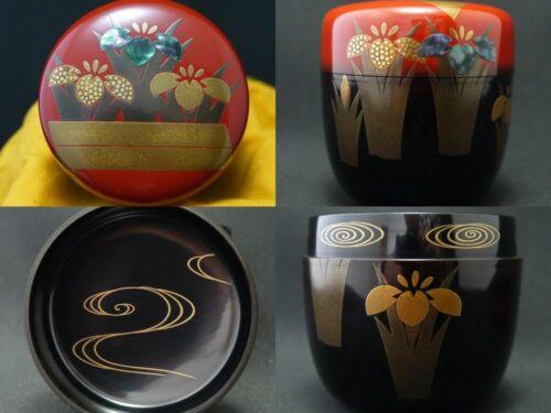 Japan WAJIMA Lacquer Wooden Tea caddy Yatsuhashi makie Natsume Famous design 203