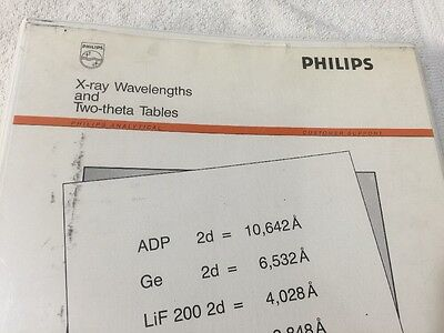 Philips 4822 870 70113 X-ray Wavelengths And Two-theta Tables Manual