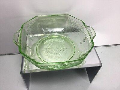 "Hocking Glass Green Depression Uranium ""Princess"" Octagon Berry Bowl Mint!"