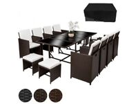 **FREE & FAST UK DELIVERY** Poly Rattan 13 Piece German Garden Furniture Set - BRAND NEW