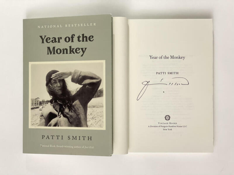 """PATTI SMITH SIGNED AUTOGRAPH """"YEAR OF THE MONKEY"""" BOOK - PUNK ROCK STAR HORSES"""
