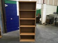 Tall second hand beech bookcases with shelves - excellent condition