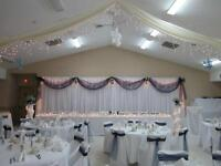Chair covers and Tablecloths for rent!