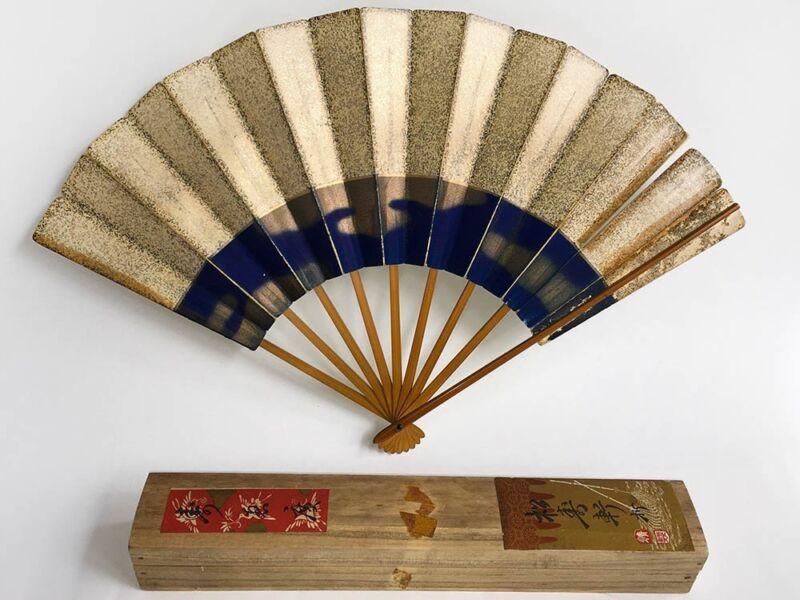 100 Year-Old Antique Japanese 'Maiogi' Folding Dance Fan & Paulownia Box: E