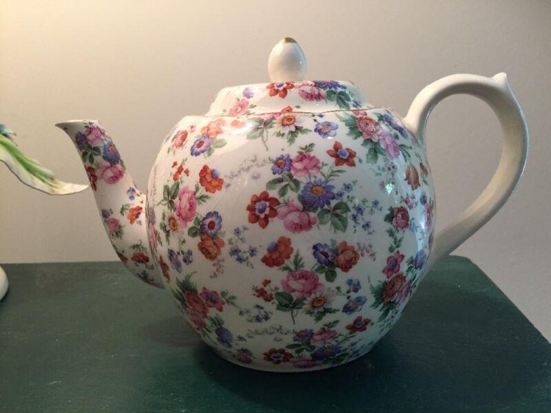 Dorset Full Size Cheery Chintz Erphila Porcelain Teapot & Lid GERMANY