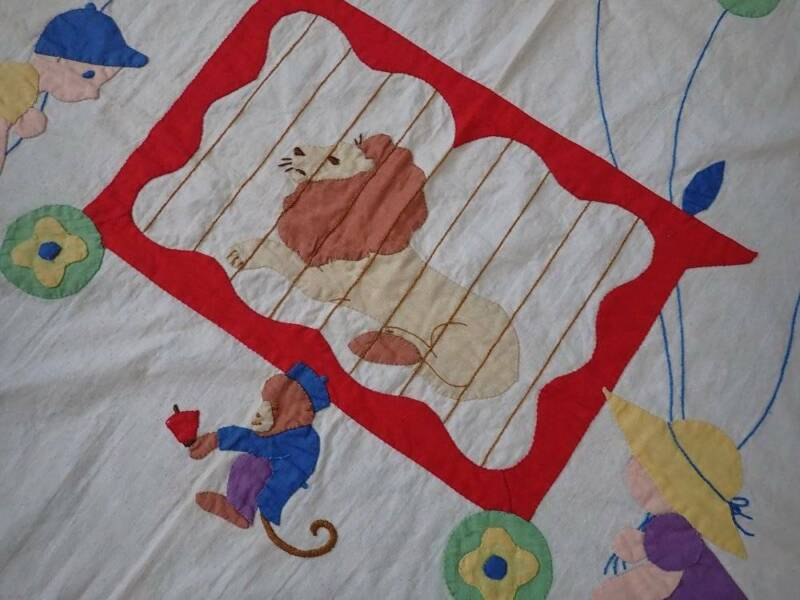 Beautiful Vintage 30s Circus Day Applique Baby Crib QUILT TOP
