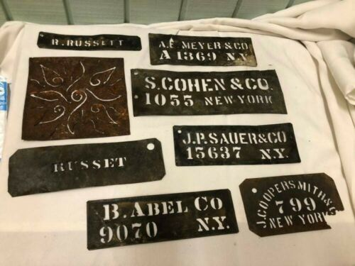 Antique Primitive ADVERTISING BRASS STENCILS NY Lot 2