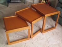 Three nested coffee tables. Wood. Pine finish.