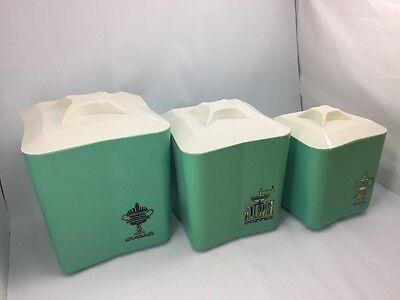 Set of 3 Kitchen Canisters Turquoise Aqua Retro 1960s Plastic Mid Century Square