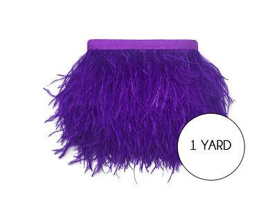 1 Yard - Purple Ostrich Fringe Trim Wholesale Feather Craft Supply Wedding - Prom Supplies