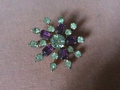 Stunning Group Of Four Vintage Costume Brooches Coloured Stones