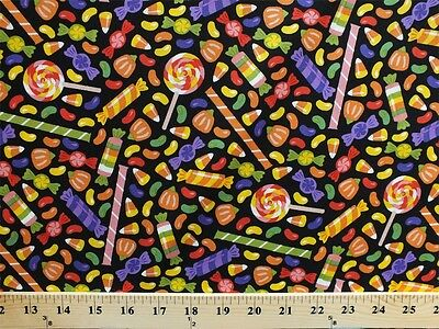 Candy Corn Halloween Candies Lollipops Black Cotton Fabric Print BTY D788.10