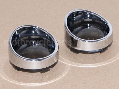 Hot Chrome Visor Style Turn Signal Bezels With Smoke Lens For Harley Davidson Us