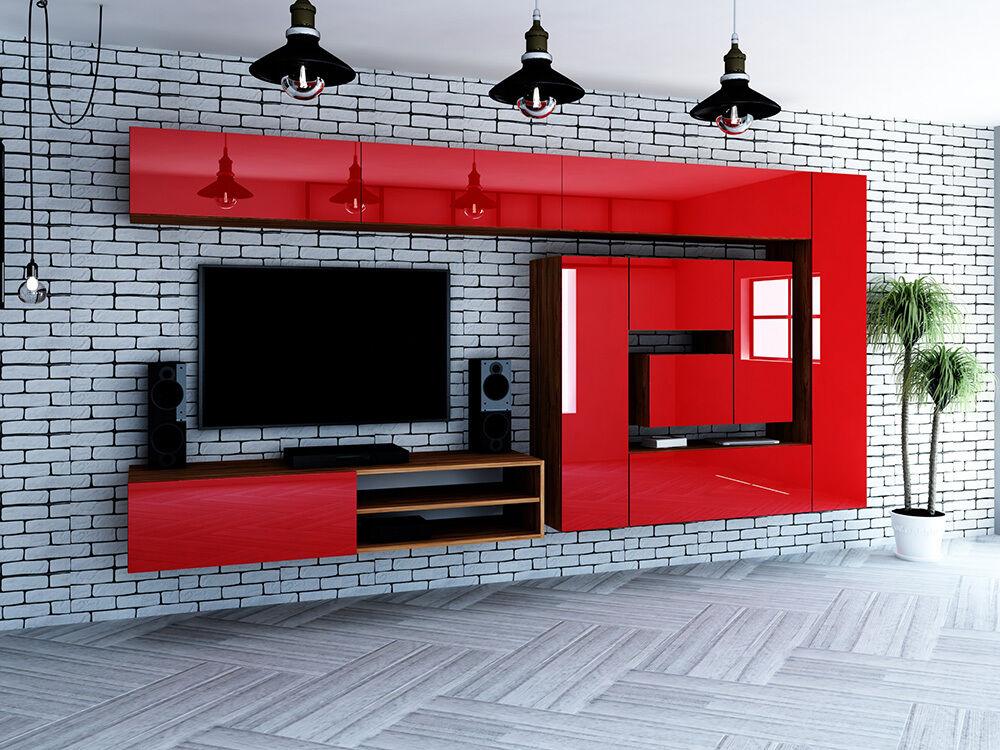 Designer hochglanz wohnwand anbauwand box plan 2 in wei for Wohnwand rot