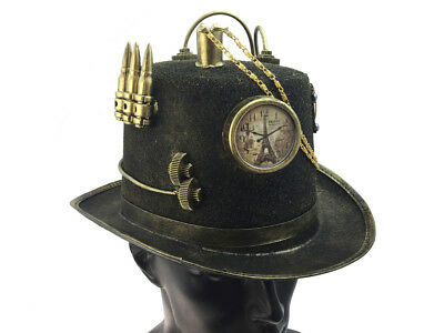 Antique Victorian Steampunk Top Hat Time Travel Clock Halloween Costume Party](Time Travel Halloween Costumes)