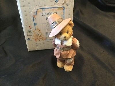 Cherished Teddies Jedediah 617091 Giving Thanks For Friends Boy Pilgrim