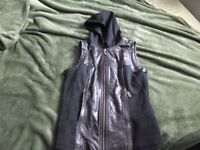 Harley Davidson leather vest with hood. size S