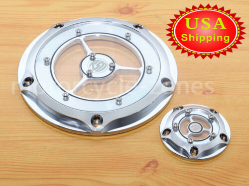 Clear Derby Timer Engine Cover For Harley Road King Dyna Softail Electra Glide