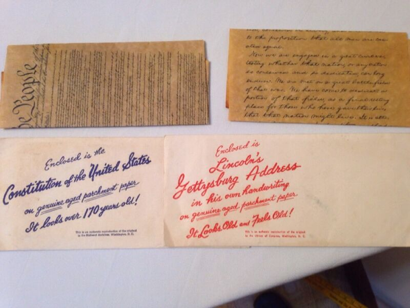 Rare Vintage Official Reproduction Of The Constitution & Gettysburg Address