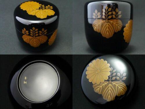 Japan WAJIMA Lacquer Wooden Tea caddy Chrysanthemum Paulownia makie Natsume 1222
