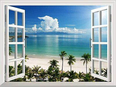 """White Beach with Blue Sea and Palm Tree Open Window Mural Wall Sticker - 36""""x48"""""""