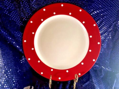 """SPODE Baking Days Red with White Polka Dots Large Round Platter  13""""  MINT"""