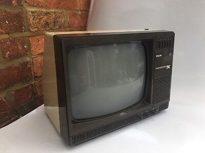 """RARE Vintage 70's - Philips TX  Portable TV 14"""" Vintage B&W - Tested"""