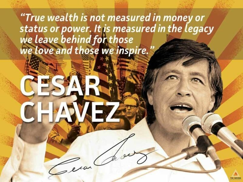 Cesar Chavez Poster Quote Labor Activist Education Art Print (24x18)