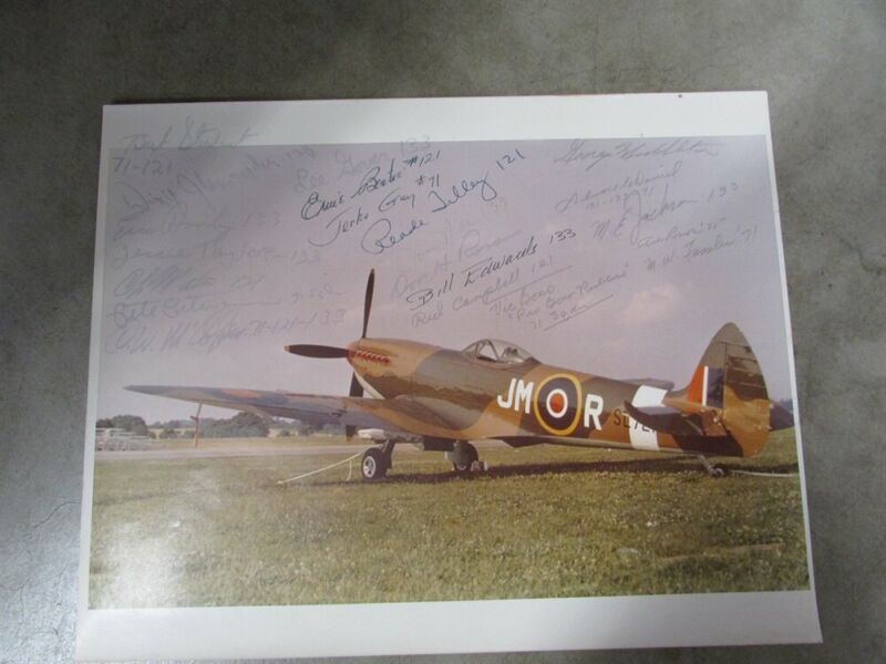 Battle Of Britain 20+ Pilot Crew Signed Spitfire Photo 121 133 71 Squadron RAF