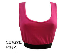 86A-PLAIN CROP CROPPED TOP VEST SPORTS BRA ELASTICATED BAND-SIZE 8,10,12,14-NEW