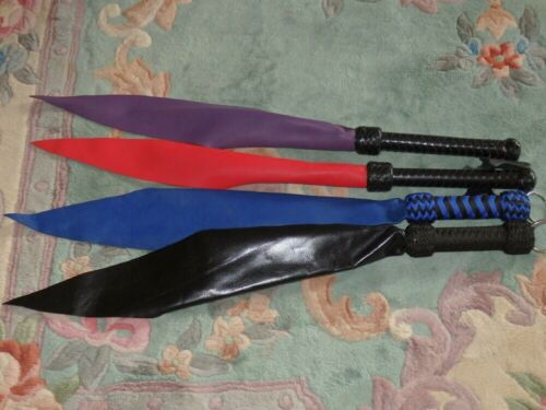 NEW RED BLUE BLACK PURPLE Leather Dragons Tongue Flogger - Riding Crop Quirt