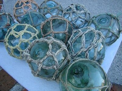 """(10) x 3"""" Japanese Glass Fishing Floats ~ With Netting ~ Authentic Old Vintage"""
