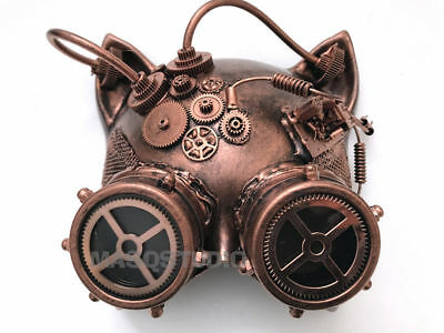 Kitty Cat Mask (Steampunk Gears Goggles kitty Cat Mask Halloween costume Masquerade ball)