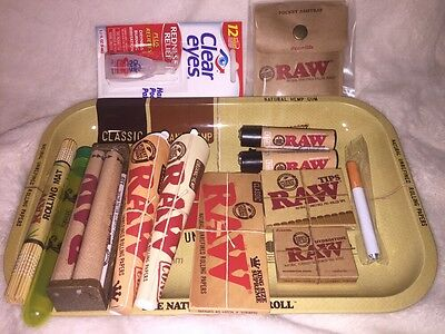 RAW 7x11 TRAY BUNDLE-ROLLING PAPERS+TIPS+ROLLING MACHINE+LIGHTER+ETC
