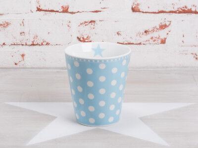 Krasilnikoff Happy Mug Becher PUNKTE Hellblau weiß Tasse Porzellan Blau Blau Weiß Mugs