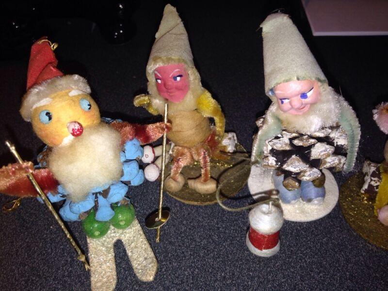 FOUR VINTAGE CHRISTMAS PINE CONE PEOPLE ELVES PIXIES MID-CENTURY ORNAMENTS JAPAN