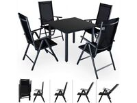 **FREE & FAST UK DELIVERY** German Deuba 4-Seat Black Aluminium Outdoor Garden Dining Table Set