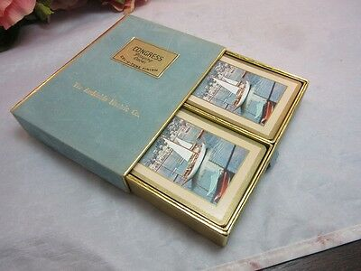 Vtg Congress 2 decks playing cards. The Archiable Electric Co. advertising. Boat