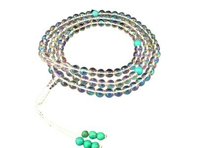 Tibetan Mala Rainbow Crystal Quartz mala 108 beads for meditation