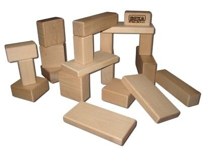 BEKA TRADITIONAL HARD MAPLE WOODEN UNIT BLOCKS - TODDLER 20 PIECES SET USA - NEW - Maple Blocks Set