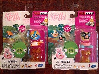 Angry Birds Stella Telepods WILLOW Blue Bird POPPY Figure Rovio Hasbro Lot Of 2