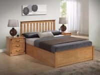 CHEAPEST EVER PRICE*** BRAND NEW Malmo Oak Finish Wooden Ottoman Storage Bed in Double and King Size