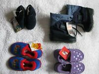NEW-NEVER WORN: BOOTS, SHOES, SLIPPERS (Varied Sizes)
