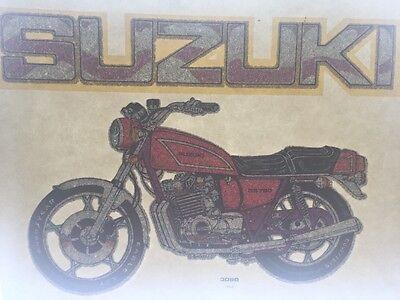 Vintage 70s Suzuki Motorcycle Glitter Iron On Transfer Authentic!